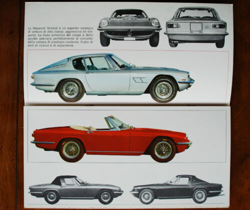Maserati Mistral Coupe & Convertible color brochure Prospekt, 1966
