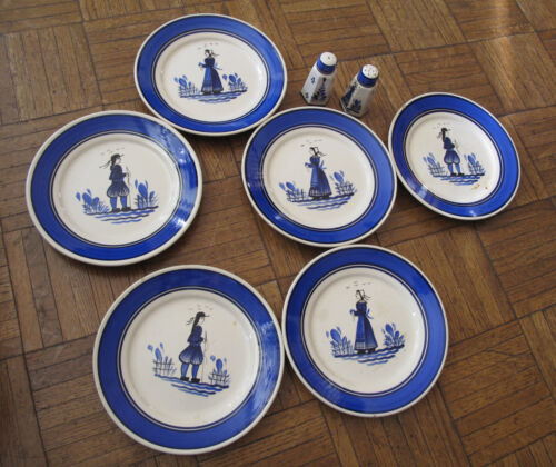 Quimper vintage 6 plates & Salt Pepper royal blue Boy Girl hand painted France