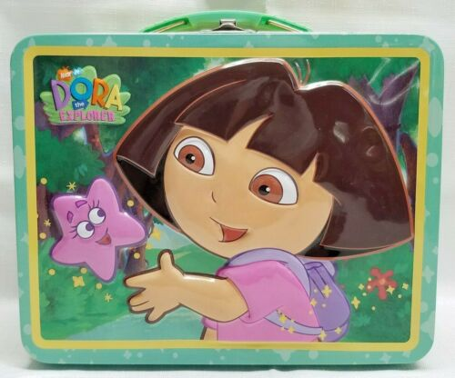 2004 Dora The Explorer Las Estrellas Embossed Tin School Lunch Box Collectible