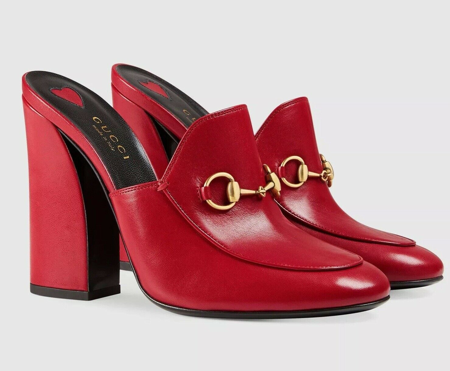 GUCCI Princetown 'Julie' Red Horsebit Heels Leather Mule #431947 Sz 39.5, US 9.5