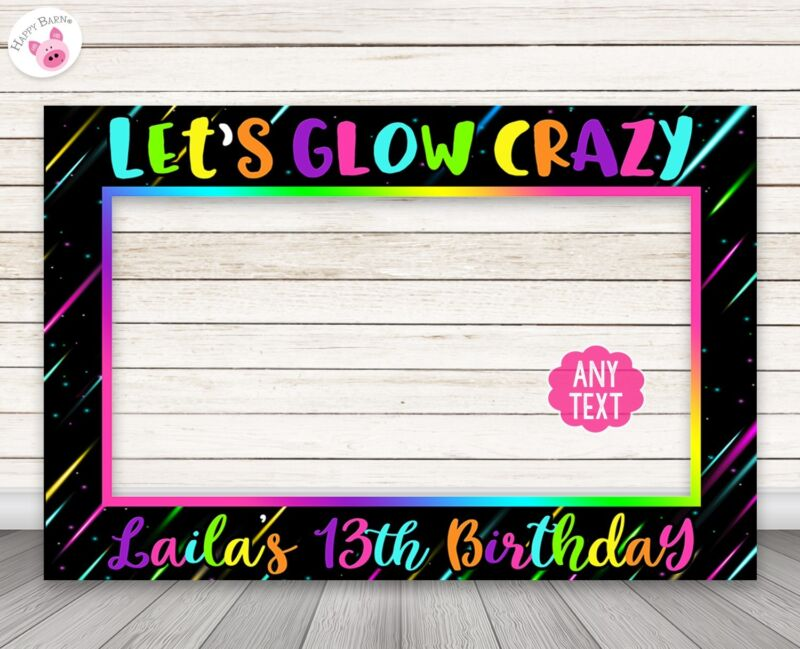 Neon Glow Party Photo Booth Frame Prop -PERSONALIZED PRINTED & SHIPPED
