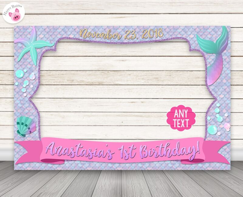 Mermaid Photo Booth Frame Prop -PERSONALIZED PRINTED & SHIPPED