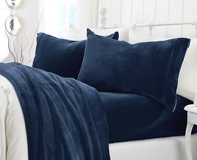Sheet Set Velvet Plush Denim Blue Deep Pockets Queen Size 4