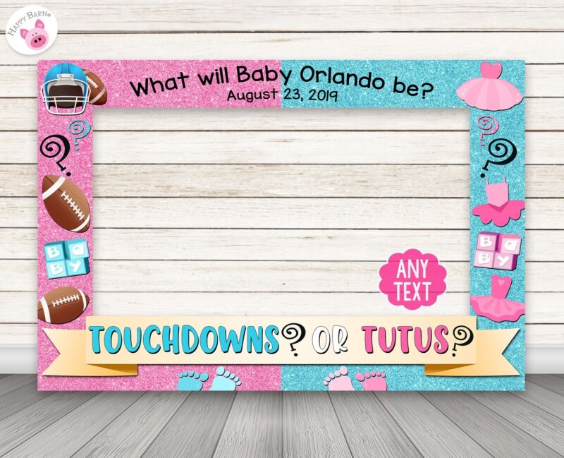 Touchdowns or Tutus Gender Reveal photo booth frame - PRINTED & SHIPPED