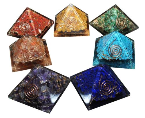 X-LG Multi-Stone Orgone 7 Pcs  Pyramid Healing Energy Generator Gemstone Chakra