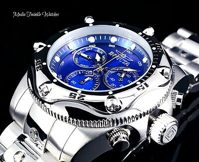 Invicta 55mm Pro Diver Master of the Oceans Blue Dial All Silver Bracelet -