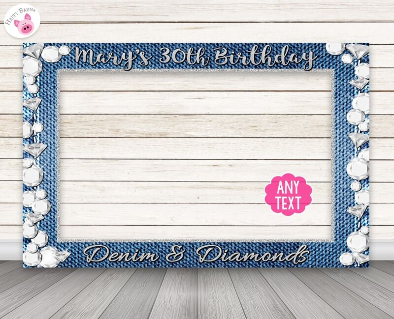 Denim and Diamonds Photo Booth Frame Prop -PERSONALIZED PRINTED & SHIPPED