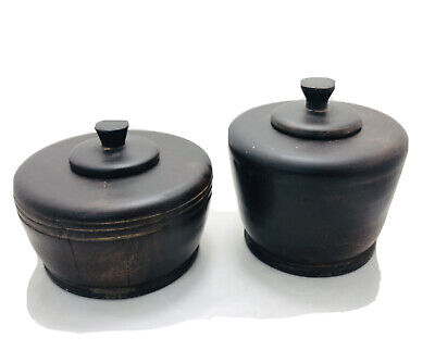 Wooden Hand Turned Lidded Bowls. Antique Treenware home decor kitchen
