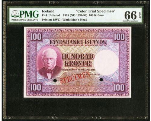 UNC PMG66 Iceland Landsbanki Islands 100 Kronur 1928 35cts Color Trial Specimen