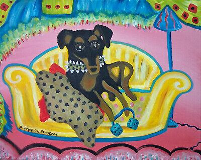MINIATURE PINSCHER Retro Pop Art Print 8x10 Dog Collectible Vintage Style 80's Miniature Pinscher Art