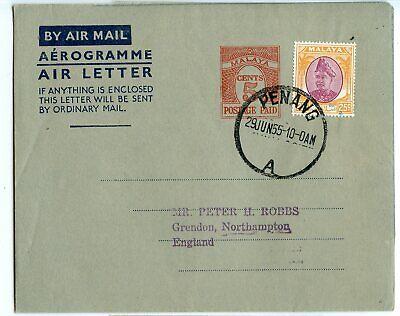 MALAYA AEROGRAMME 5c+ STAMP, PENANG TO ENGLAND 1955, PHILATELIC, FG1a     (B815)