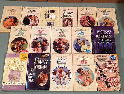Lot of 16 Penny Jordan romance novels, Harlequin paperback books