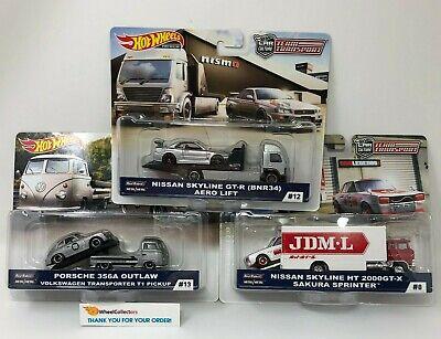 3 Cars * Porsche Outlaw & Skyline GT-R  2019 Hot Wheels Team Transport E Case