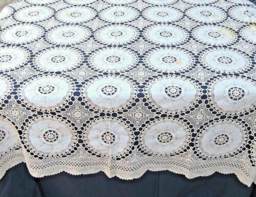"Vintage Handmade Tablecloth Beige Cotton Banquet 74 x 112"""