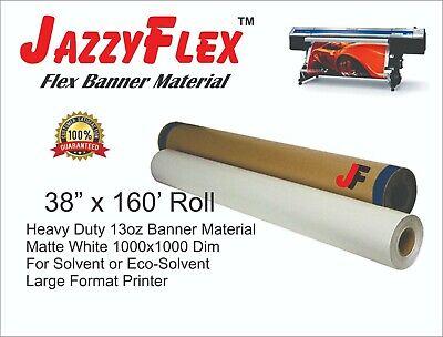 Heavy Duty 13oz Banner Material 1000x1000d Matte White 38 In X 160 Ft Roll