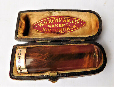 NO RESRV 9ct Gold & Amber Cheroot Cigar Holder in Case Vintage Antique Cigarette