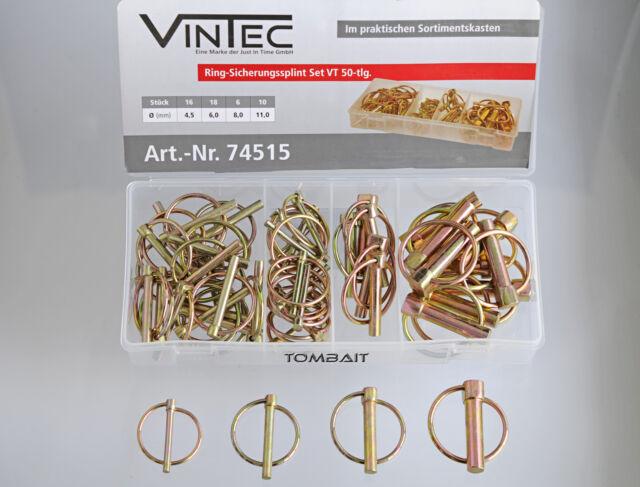 VINTEC Sicherungssplint-Set 50x Klappsplinte Ringsplint Ring-Splint Klappstecker