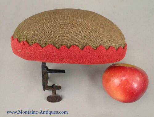 Antique Pin Cushion W/ Wrought Clamp c. 1800s