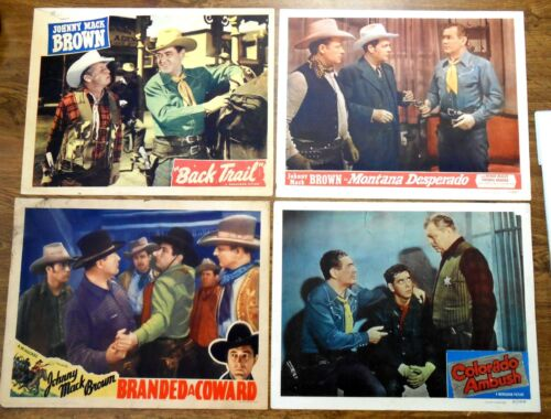 Orig. Rare, Johnny Mack Brown, Cowboy Star, Vintage Set 4 Circa 1945 Lobby Cards