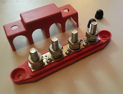 """DC bus 250 Amp @ 12v  4 3/8"""" Post,Terminal bar w/Cover (red) SS"""