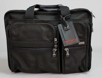TUMI Alpha 26018D4 Black Ballistic Nylon Expandable Briefcase Laptop Bag