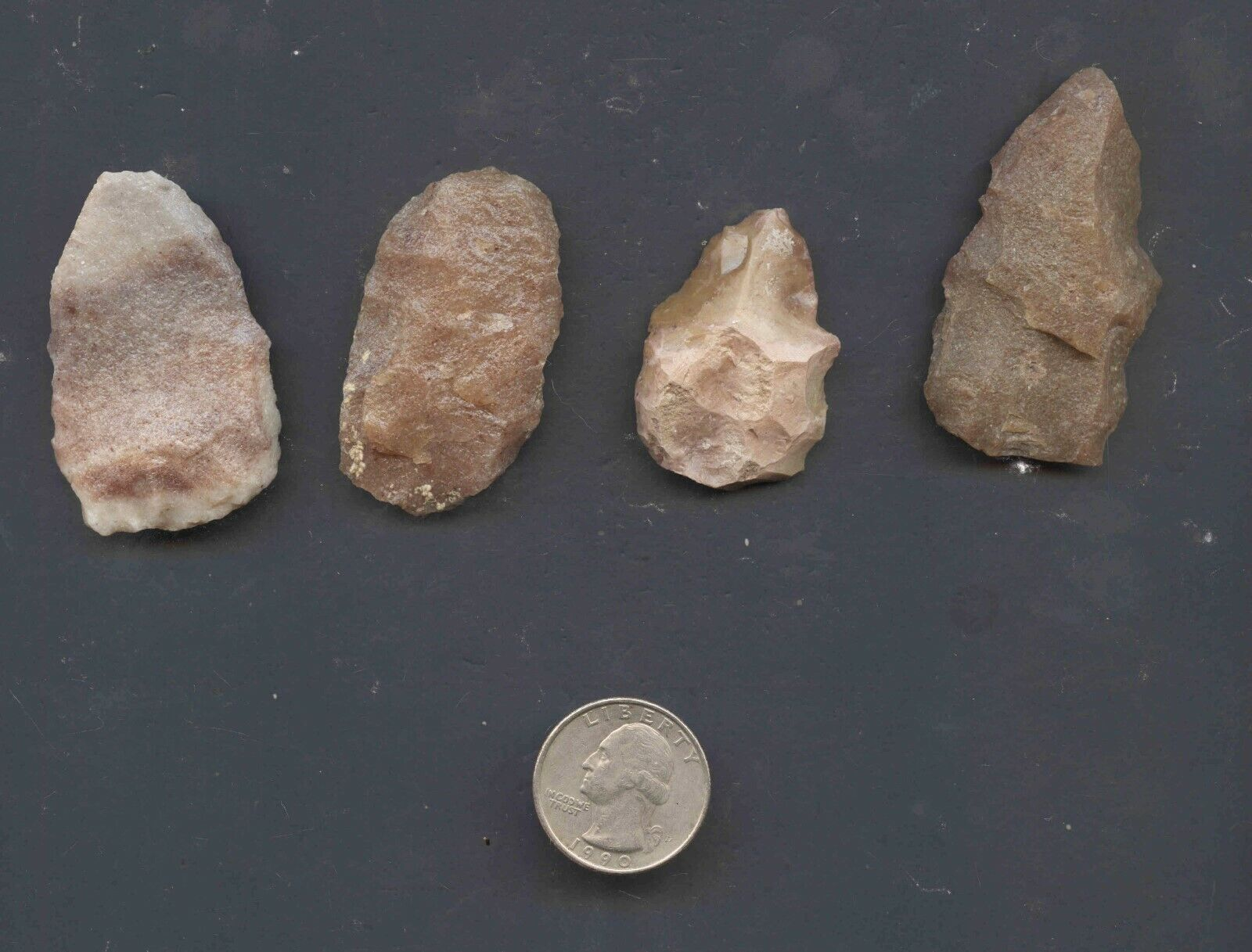 SET OF 4 ARROWHEADS AUTHENTIC NATIVE AMERICAN ARTIFACTS