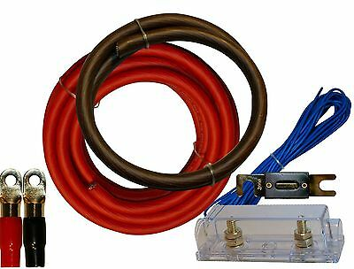 0 Gauge Amplfier Power Kit for Amp Install Wiring 1/0 Ga Cables 4500W 200 ANL