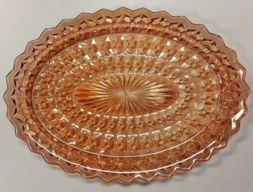 Vintage Jeannette Glass Windsor Diamond Shiny Coral Gold Amber Platter Dish Tray