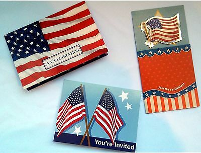 8 pc Invitations 3 Styles to Choose From Flag JULY 4th Patriotic    1-3C