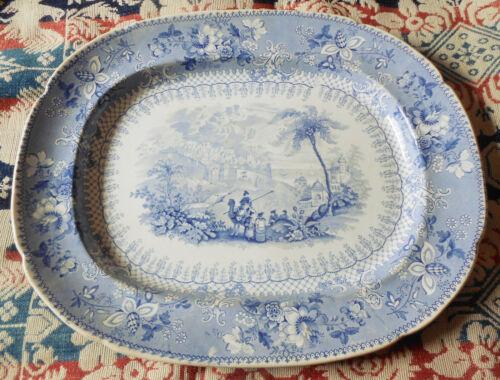 "Rare Huge 1830s Blue Transferware Platter ~ Elijah Jones ~ 19 1/2"""