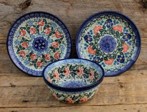 Lot of 1 Bowl & 2 Salad Plates Unikat Boleslawiec Polish Pottery Hand Painted