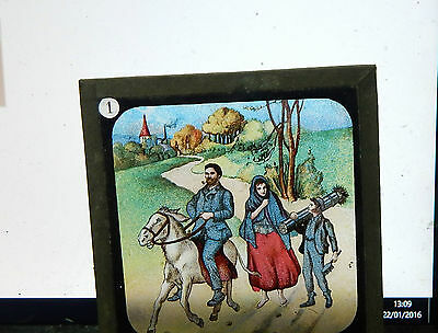 Victorian Glass magic lantern slide nursery rhyme colour image ci1