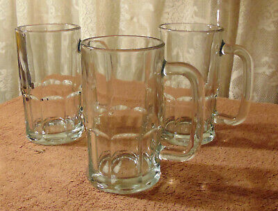 Lot of 3 ANCHOR HOCKING WAGON GLASS 20 oz. BEER MUGS - 6.25