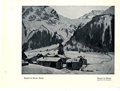 Raphael de Grada, Zürich Bergün im Winter Historischer Kunstdruck von 1913