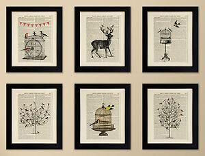 SET-OF-6-FRAMED-ART-PRINTS-ON-OLD-ANTIQUE-BOOK-PAGE-Birds-Deer-Stag-Vintage