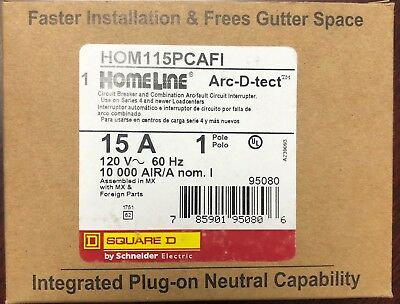 Lot Of 10 Square D Homeline Hom115pcafi 15a Plug On Neutral Arc-fault Afci New