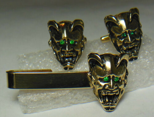 Old Vtg. Demon/Satan/Lucifer/Devil mask tie clip & cuff links