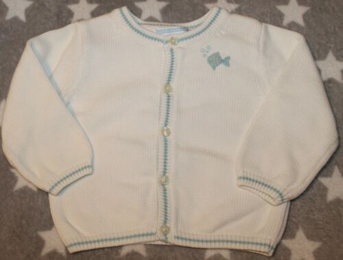 Janie and Jack layette Boys 12-18 Months white heirloom summer sweater fish