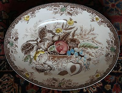 "VNTG SERVING FRUIT BOWL OVAL JAPAN BROWN TRANSFERWARE HAND PAINTED 10.5""L x 8"" W"
