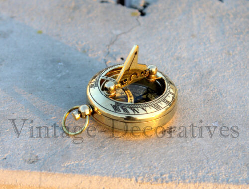 Handmade Nautical Brass Sundial Compass Marine Vintage Compass Pocket Gift/Decor