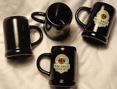Set of 4 Bacardi Oakheart Rum Miniature Mug - Shot Glasses...Plastic....NEW