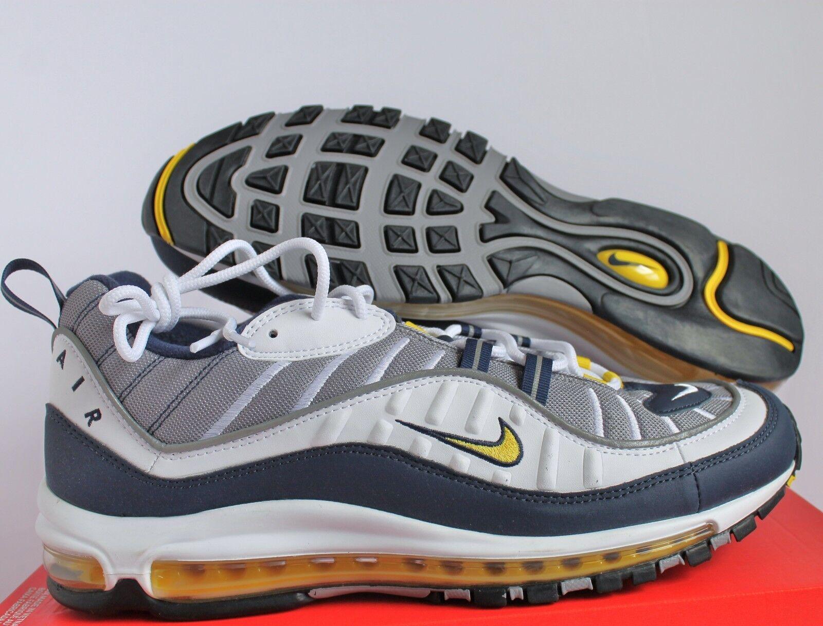 Nike Men Air Max 98 White Tour Yellow Midnight Navy sz 15 [640744 105]