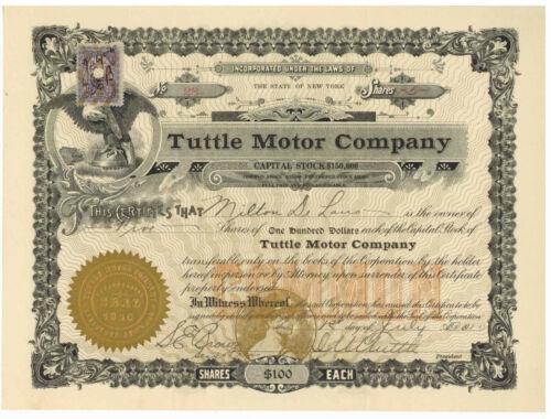 Tuttle Motor Company. Stock Certificate. New York 1910