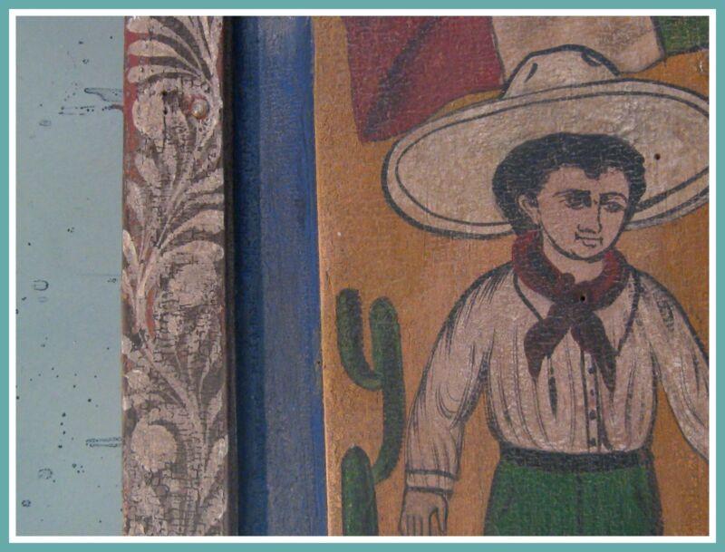 Vintage Architectural Folk Art Mexican Painted Wood Revolution Solder Peasant