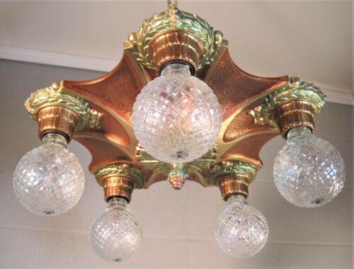 Chandelier Art Deco Markel 5 Light Restored Copper Gold Bronze Metallic Finishes