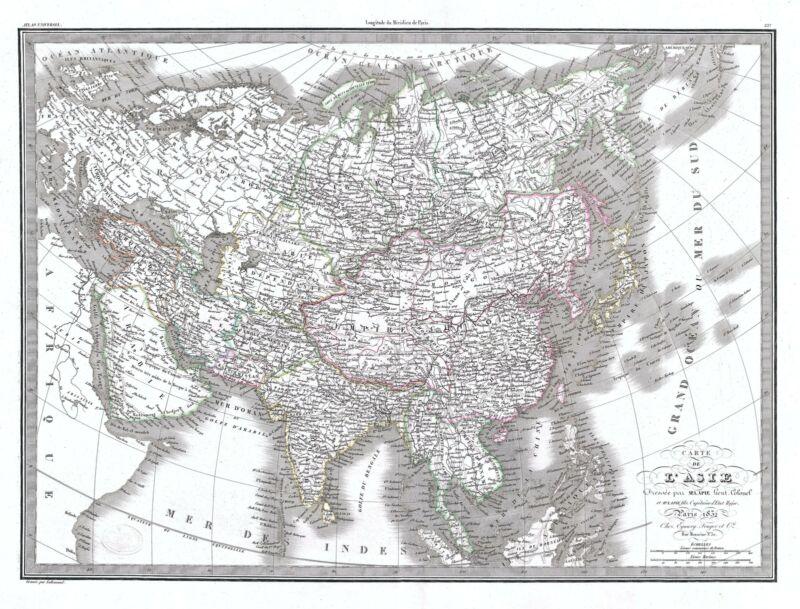 1832 Lapie Map of Asia