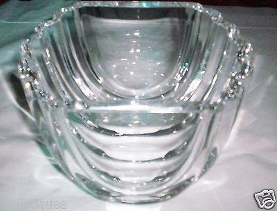 RETIRED Numbered Kosta Boda Goran Warff SIGNED Crytal Ribbed Ribbon Vase Bowl