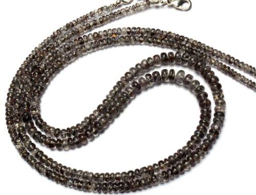 """Natural Gem Sri Lanka Black Rutile Quartz Smooth 4-7MM Rondelle Bead Necklace18"""""""