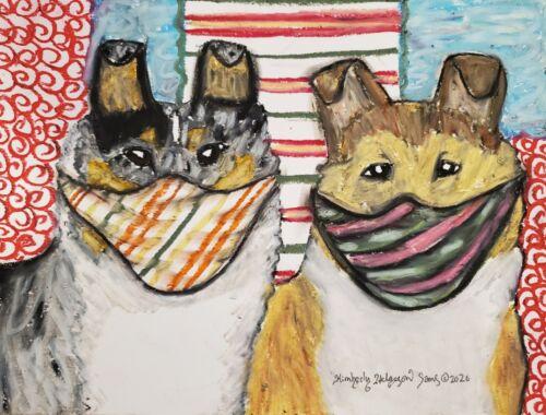 dog art Smooth Collie print 11x14 KSams Quarantine Collie Collectible Gift