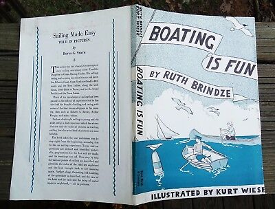 RARE ca1949 BOATING IS FUN BY RUTH BRINDZE - ILLUS BY KURT WIESE DUST COVER ONLY